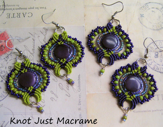 Micro macrame earrings by Sherri Stokey of Knot Just Macrame
