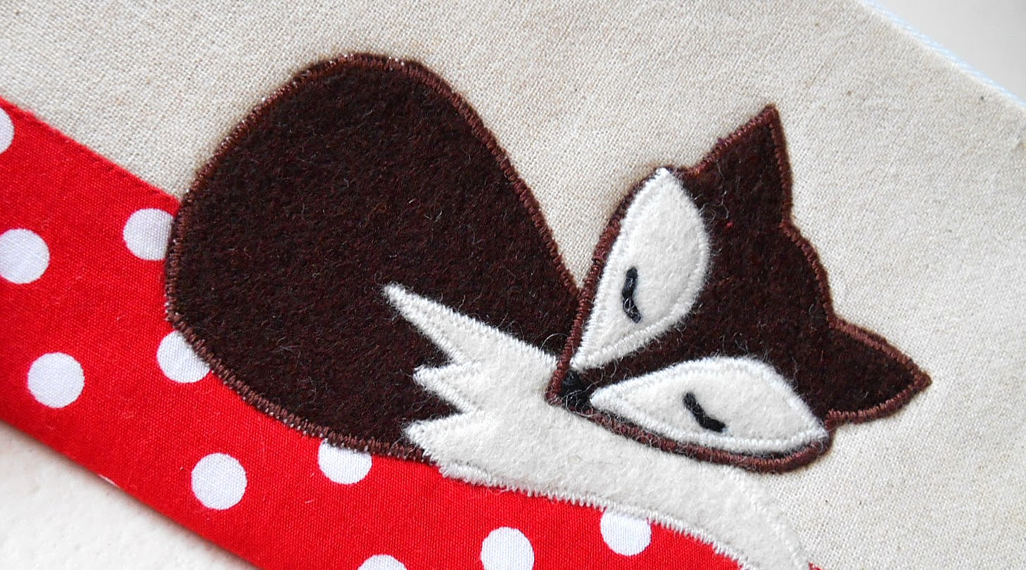 Sleeping Brown Felt Applique Fox Red Polka Dot Zipper Pouch