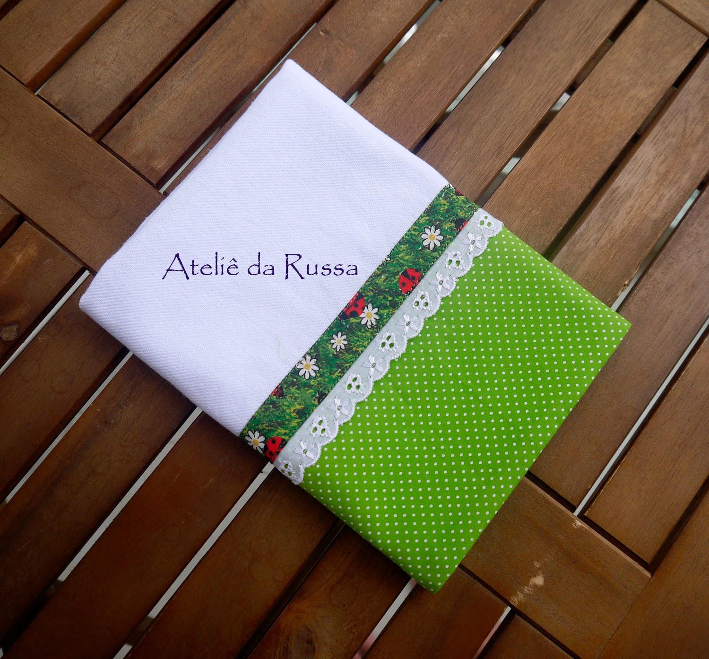 Feira Artesanato Osasco ~ Ateli u00ea da Russa Pano de prato com barrado de tecido verde poa