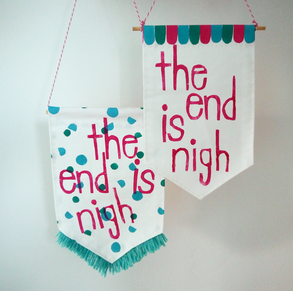 Craft Sunday, crafting, diy, Dundee, DCA, Dundee Contemporary Arts, Nikki McWilliams, workshop, craft workshop, fabric banners, decoration, printing, fabric printing, the end is nigh, bedroom