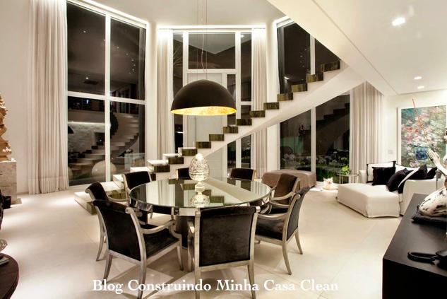 Sala De Estar E Jantar Marrom ~  jantar, iluminação de led nos cortineiros e spots na sala de estar