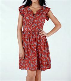 çiçekli kırmızı elbise modeli