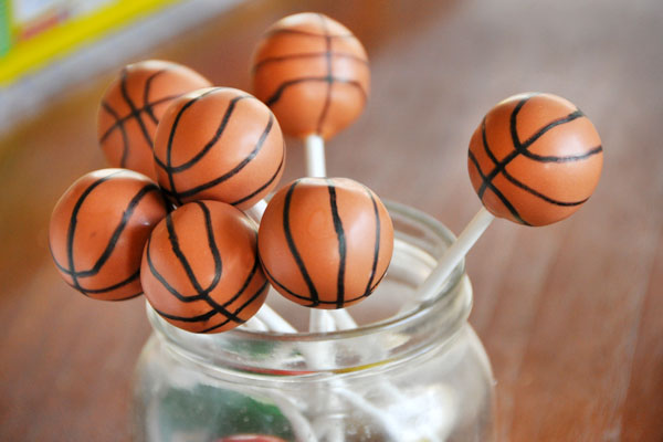 basketball cake pops orange