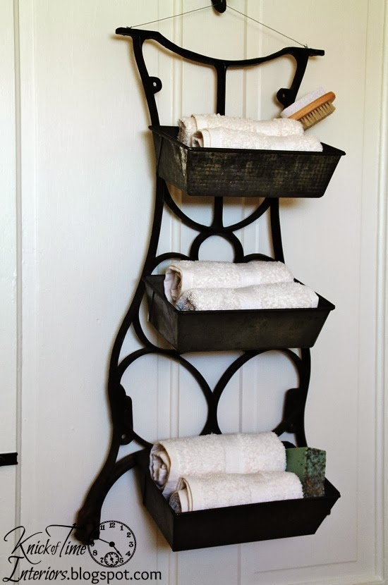 Repurposed antique sewing machine stand wall bins knick of time - Four ways to repurpose an old sewing machine ...