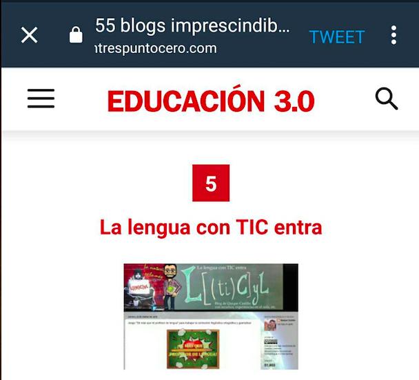 """Incluido en el listado de """"55 blogs imprescindibles de docentes"""" de Educación 3.0"""