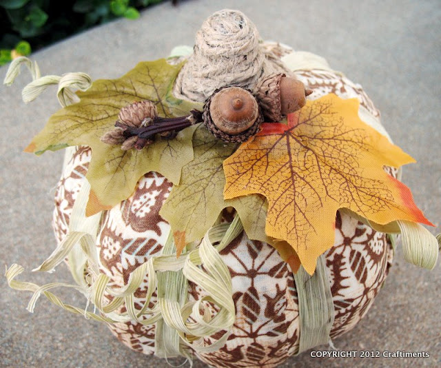 Craftiments:  Fabric decoupaged pumpkin