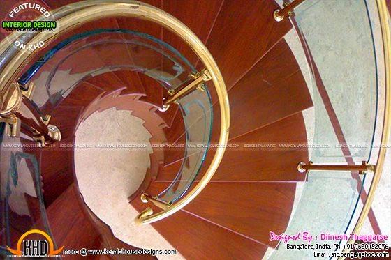 Spiral wooden stair