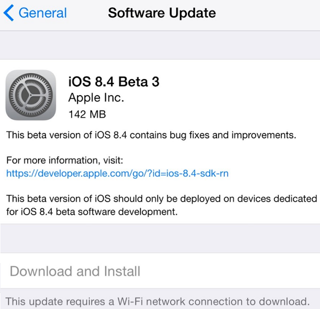 Apple iOS 8.4 Beta 3 (12H4098c)