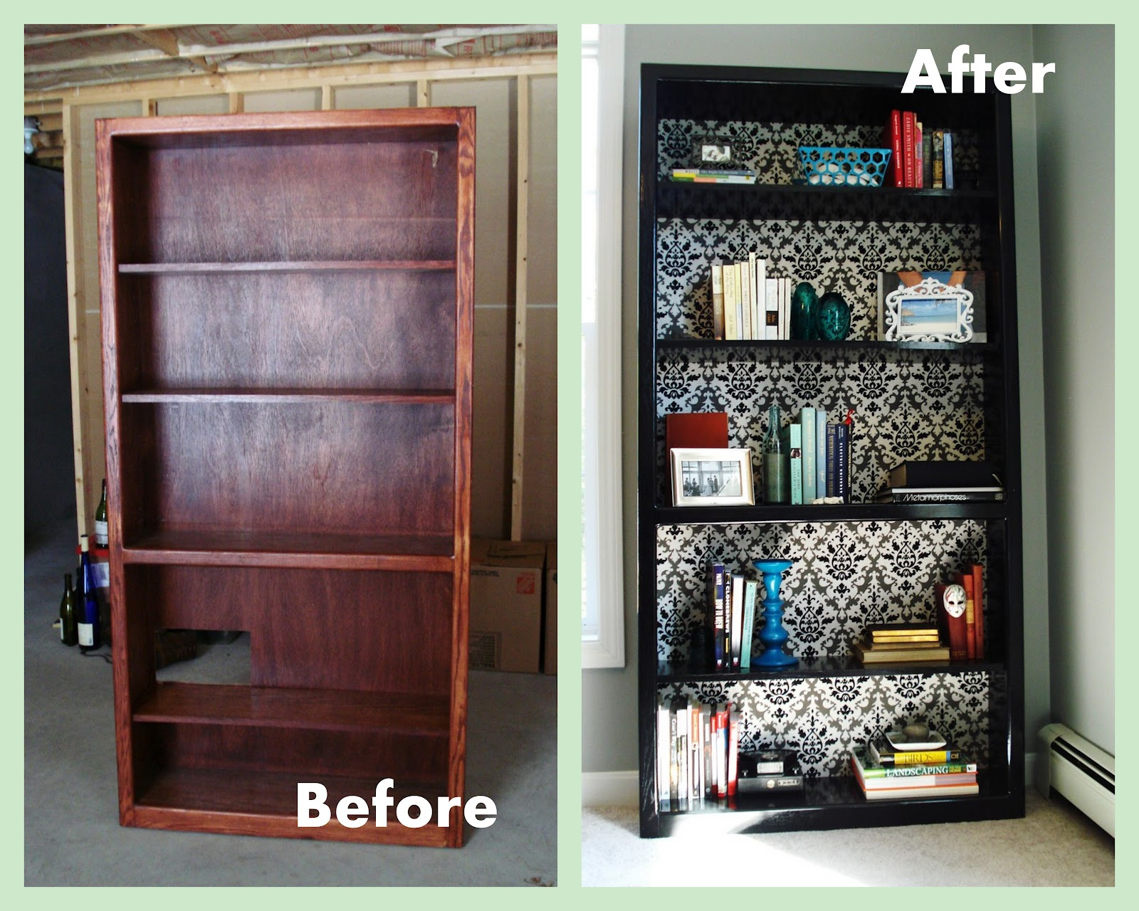 heart maine home office bookcase before and after