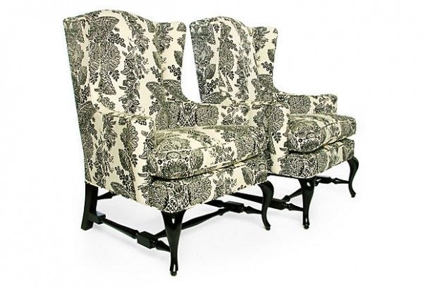 Classic Wingback Chairs In Black And White Patterned Fabric And Painted  Black Legs (source Pinterest)