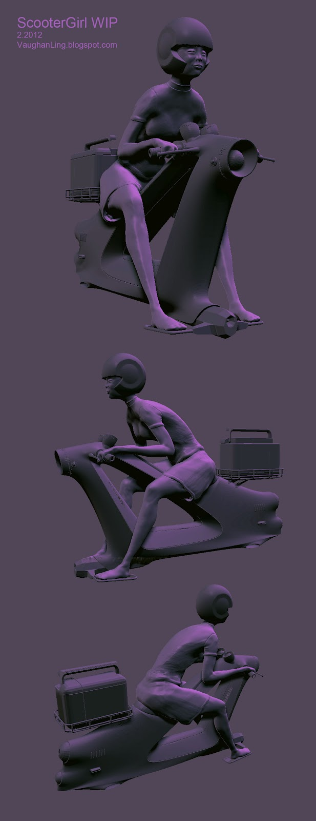 Brought in a scooter model from Modo for posing reference.