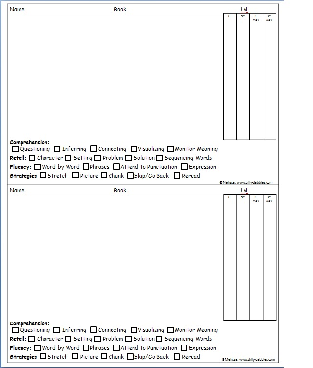 Classroom Freebies: Ongoing Running Record Form