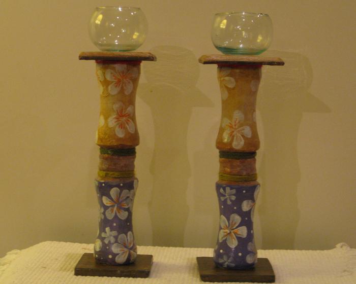 Artesanías dorrego de marcela hermelo: candelabros con mosaiquismo