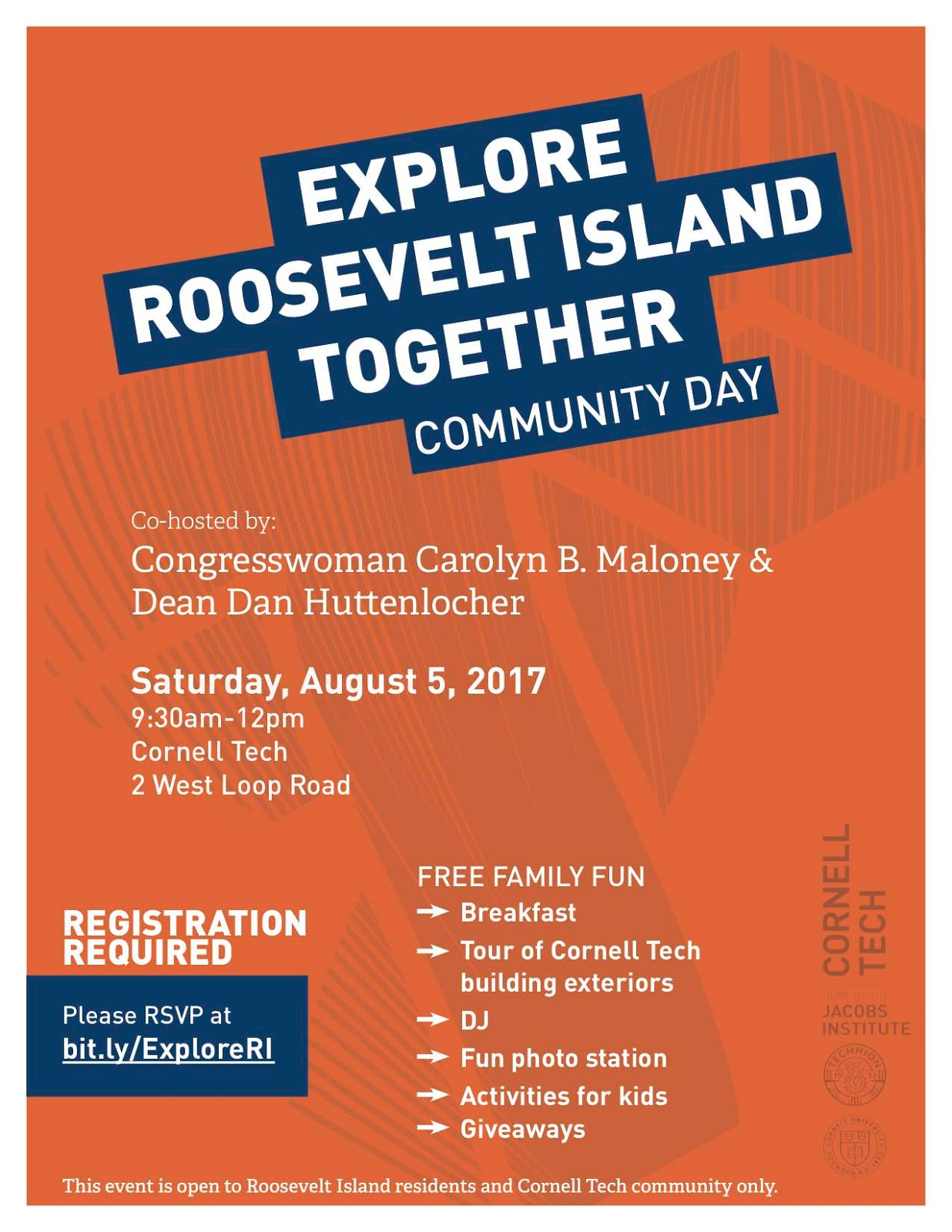 You're Invited To August 5 Cornell Tech Explore Roosevelt Island Together Community Day