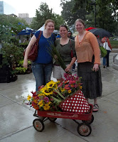 Buying flowers at the Madison Farmer's Market