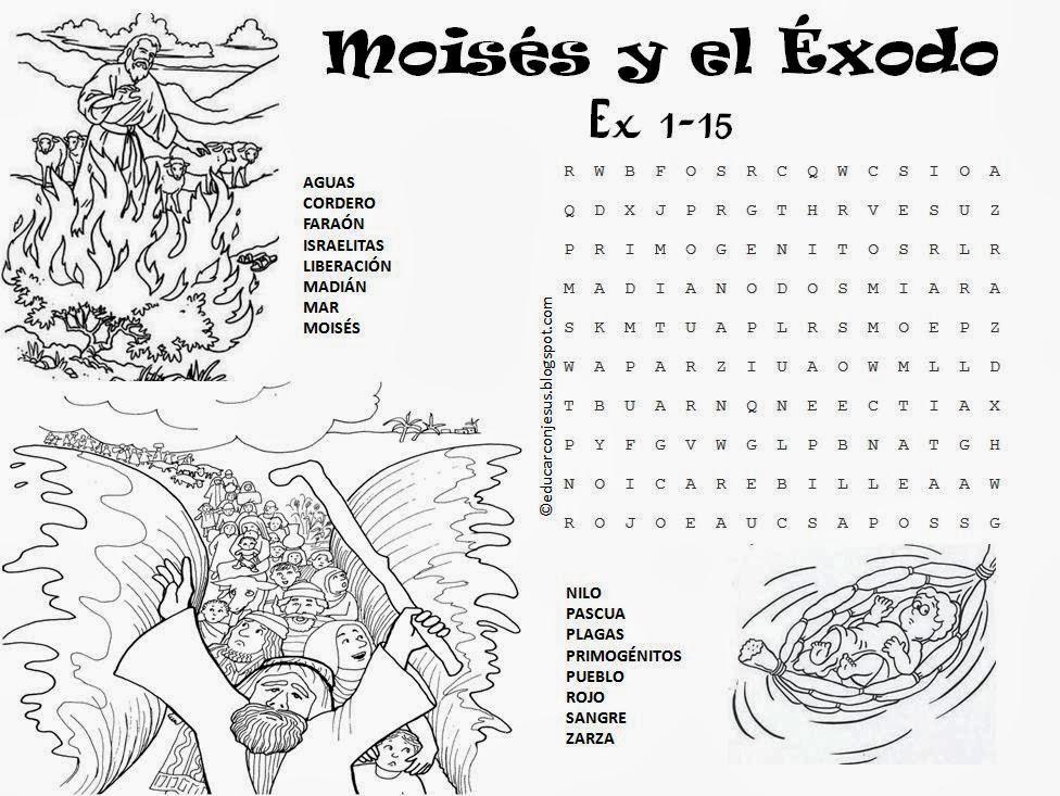 Educar con Jesús: Moisés y el Éxodo (sopa de letras)