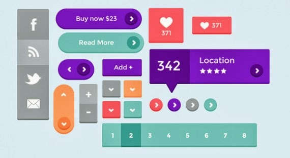 Free PSD: Flat UI Kit