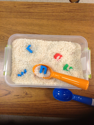 hide letters in rice for students to find and match to their name or to lower case letters