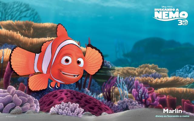 Wallpaper de la película de Pixar buscando a Nemo, Marlin el padre de Nemo