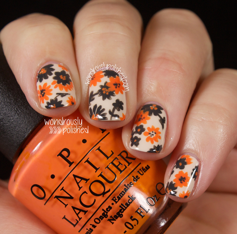 Wondrously Polished: Orange and Grey, all the way - Floral