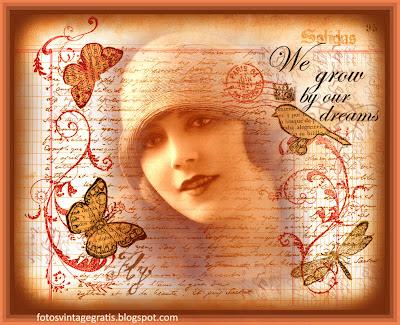 collage vintage con chica de los años veinte y fondo de cuaderno de cuentas antiguo