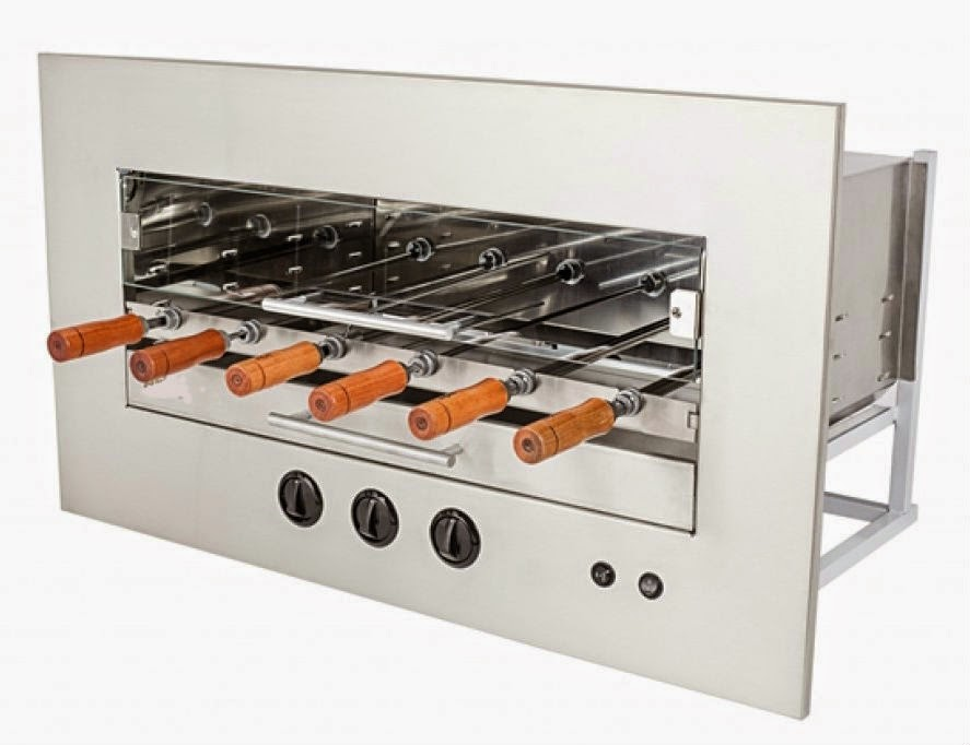 Our wall mounted, built-in Brazilian Churrasco Rotisserie Grill with gas infrared burners.