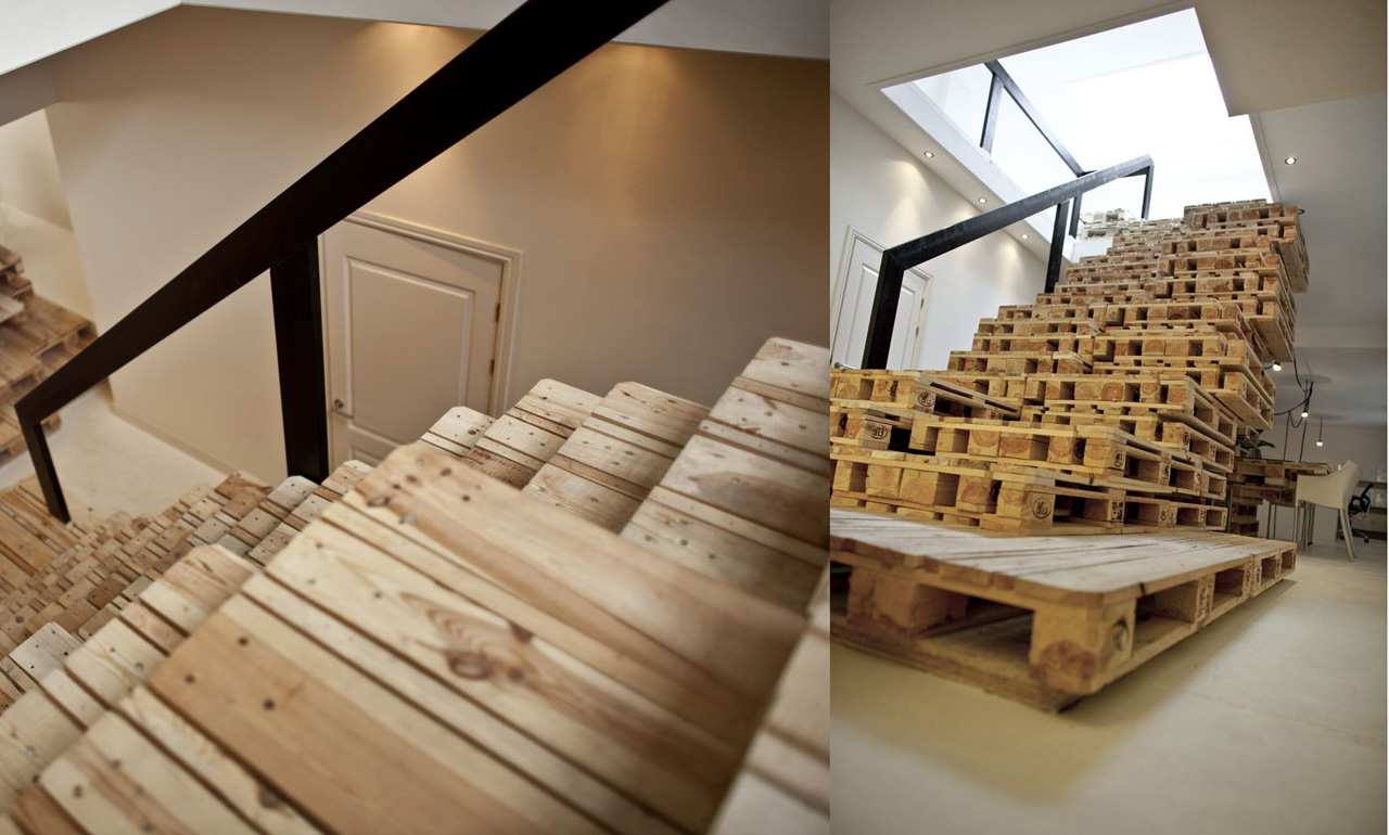 Como construir escaleras con palets for Estanterias hechas con escaleras