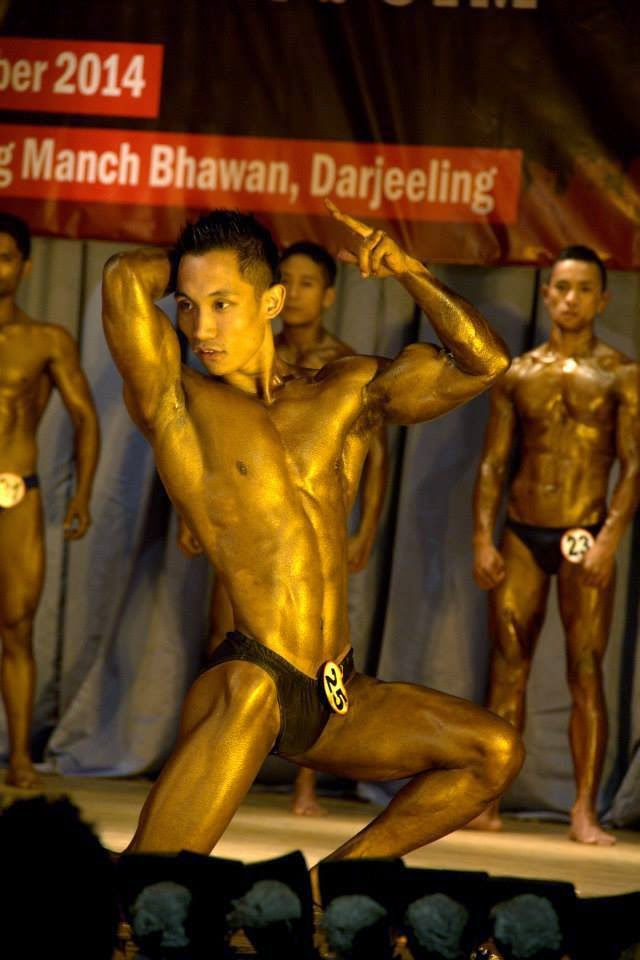 Mr. Palden Tamang doing his free posing routine.
