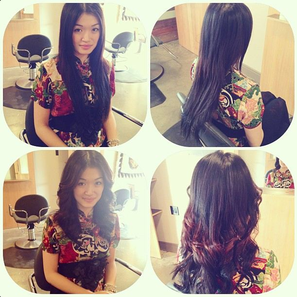 vintage floral shirt, at heartbreaker salon, hair before and after, curly hair