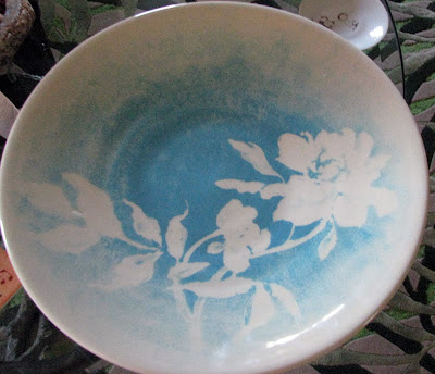 "18"" ceramic platter, resist painted turquoise and white"