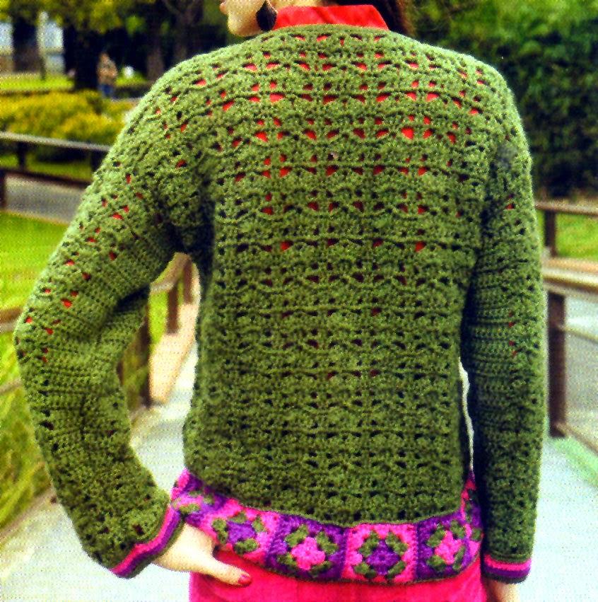 saco verde con guardas tejido en crochet (espalda)