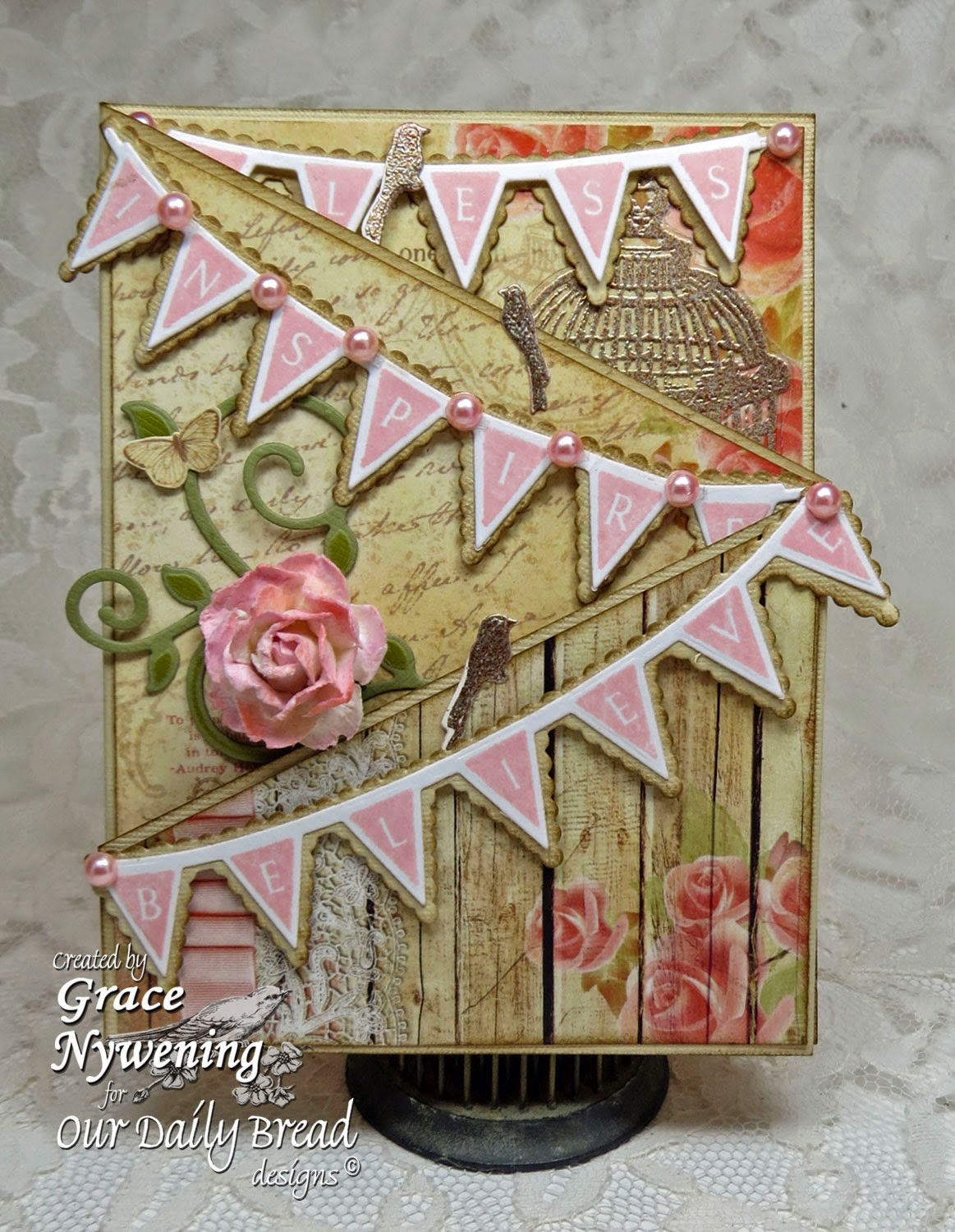 ODBD Stamps: Pennant Row Banner, To The Lovebirds, Designed by Grace Nywening
