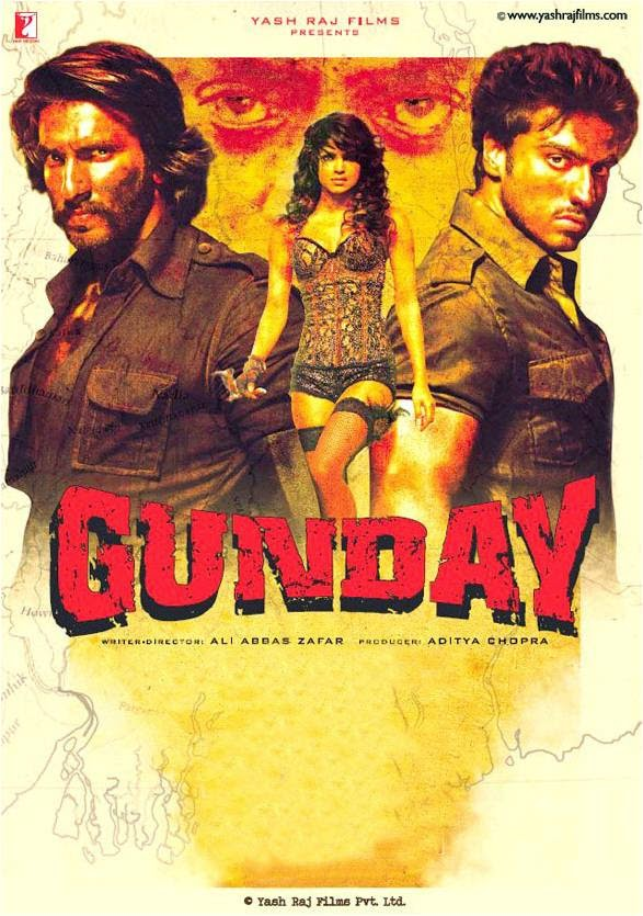 Official poster of Gunday movie featuring Ranveer Singh, Priyanka Chopra and Arjun Kapoor