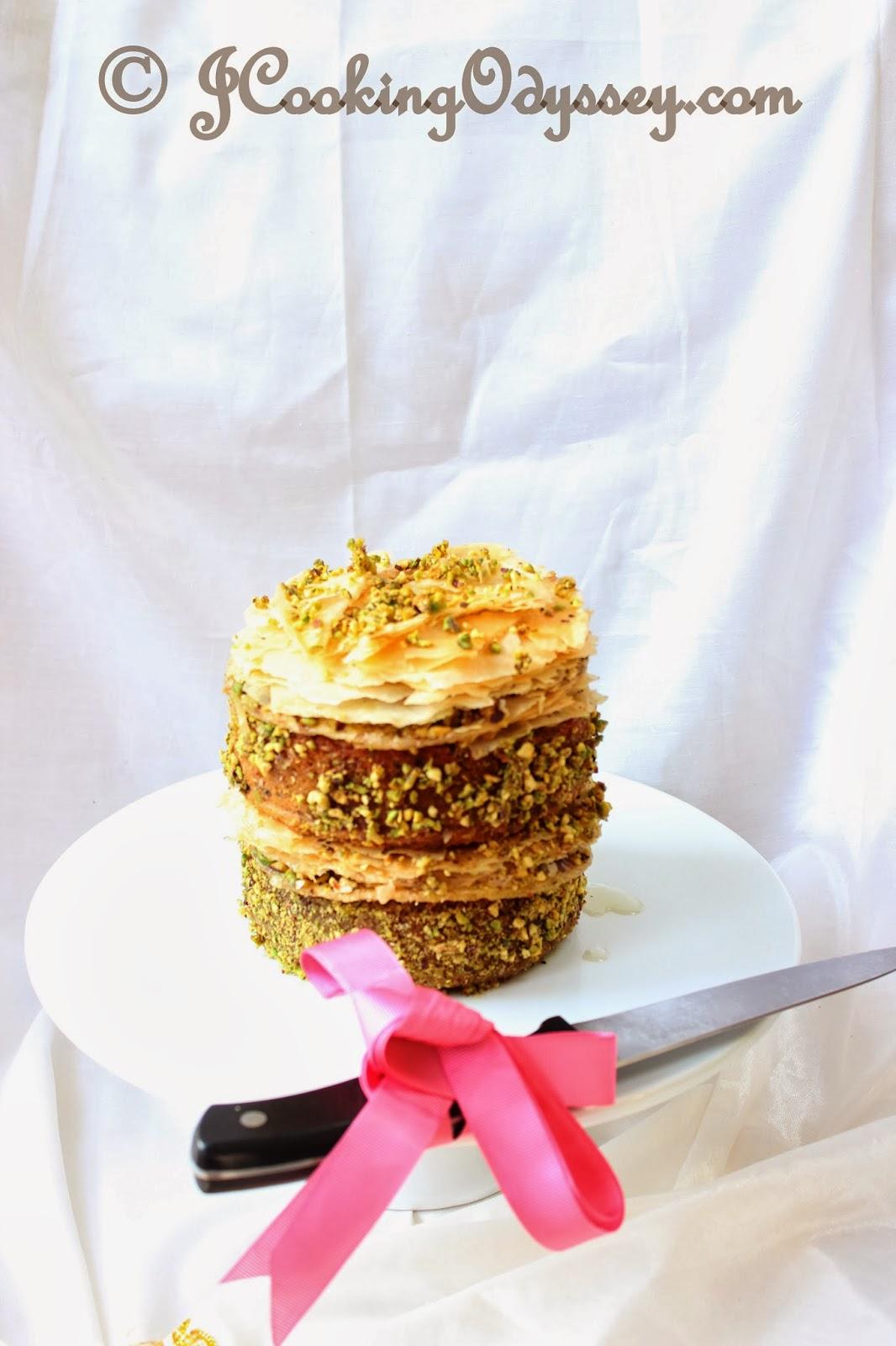 eggless rose and pistachio bakalava cake