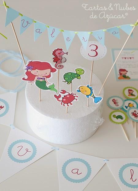 Papelería personalizada para cumpleaños, La Sirenita.