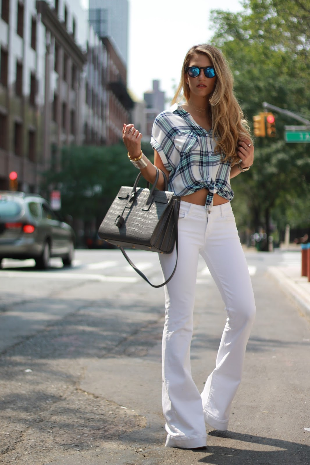 dressed for dreams in j brand flare jeans, rails shirt