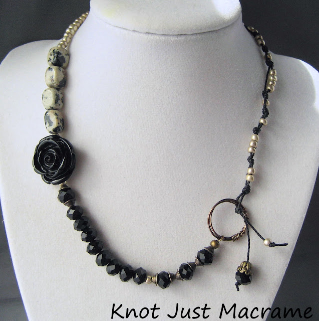 Black and tan necklace by Sherri Stokey of Knot Just Macrame