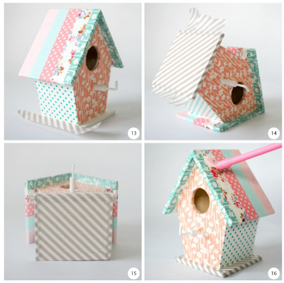 Bird house key hooks steps 13 to 16
