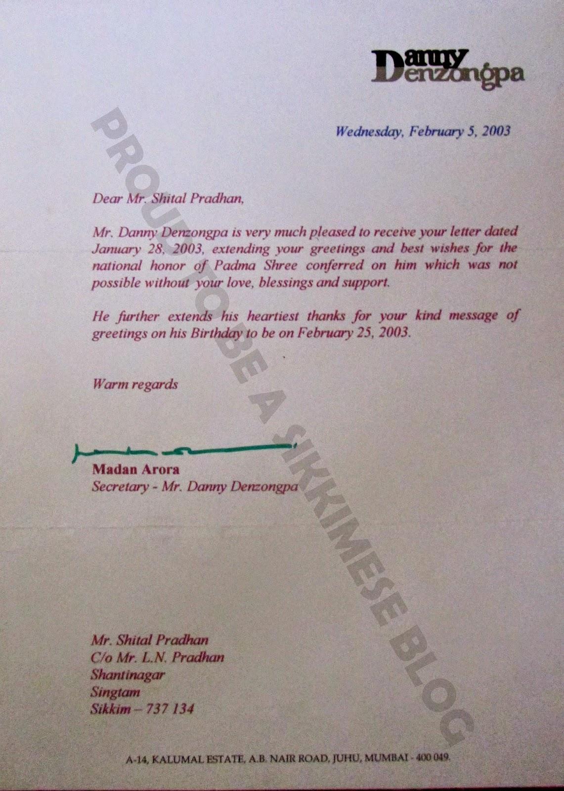 Danny Danzongpa's Secretary Madan Mohan Arora's letter send to me