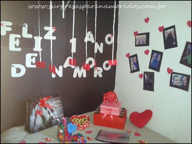 1 ano de namoro Dicas românticas Surpresas para Namorados ~ Surpresa Criativa No Quarto