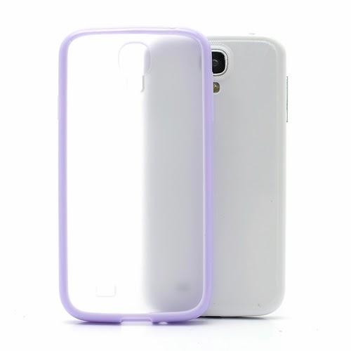 Hybrid Case : TPU Edges and Transparant Back Case Samsung Galaxy S 4 IV i9500 i9505 - Purple