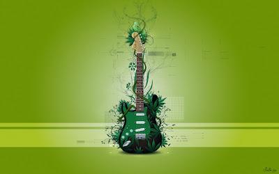 Green guitar music wallpaper
