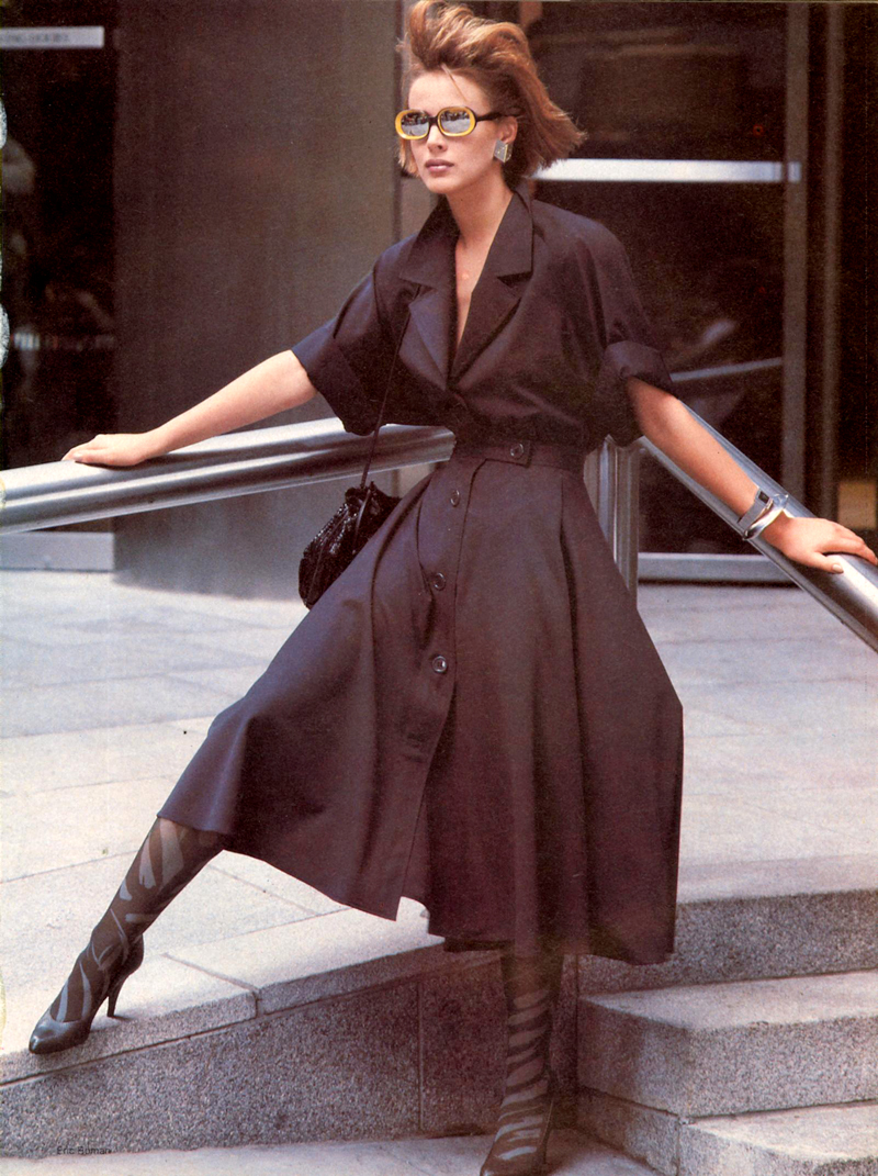 Vogue US November 1983 (photography: Eric Boman) / wardrobe essentials / history of shirtdress / shirtwaist dress story / via fashioned by love british fashion blog
