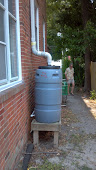Alan and I check out the rain barrels at the Methodist Church