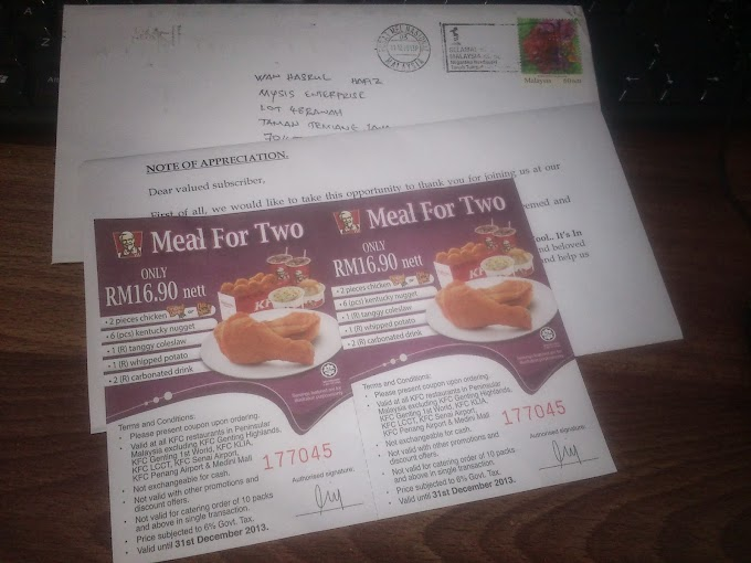 Dah Dapat Voucher Meal For Two KFC dari CellAds