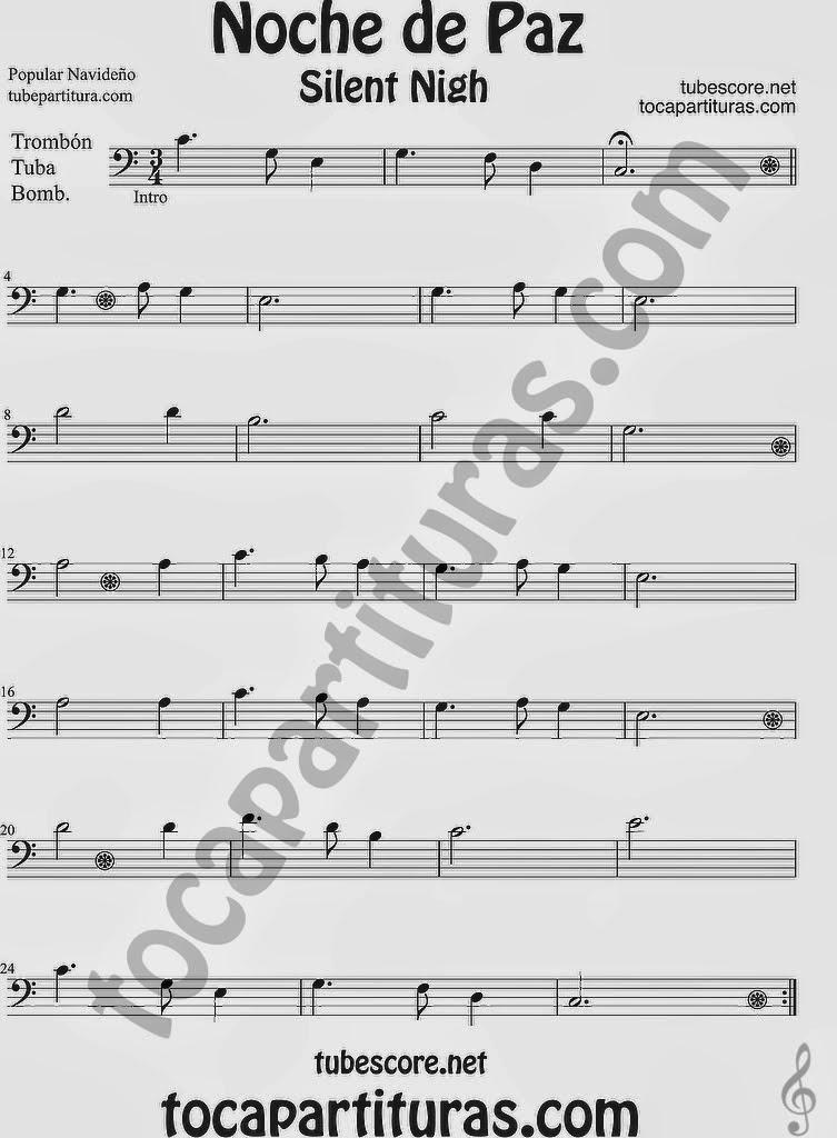 Tubepartitura Noche de Paz partitura para Trombón Tuba y Bombardino Villancico de Navidad Canción Popular