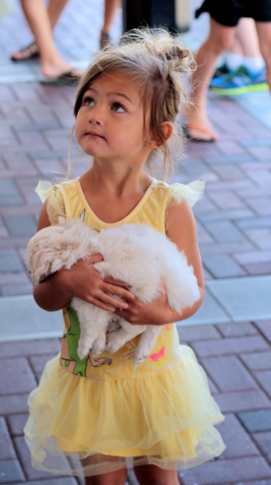 A little girl in a yellow dress hugs an adorable puppy.