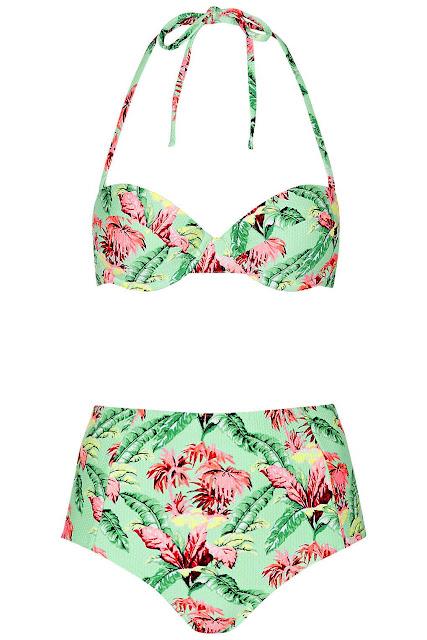 topshop tropical print swimsuit