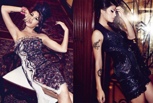 jacqueline fernandez as amy winehouse in harper bazaar - photo gallery