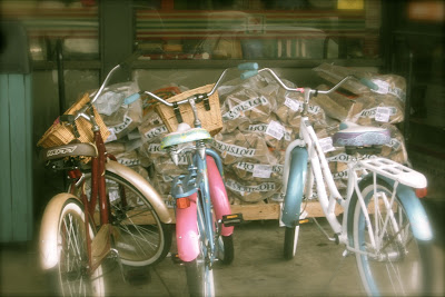 Vintage Bicycles with baskets  at 7-11